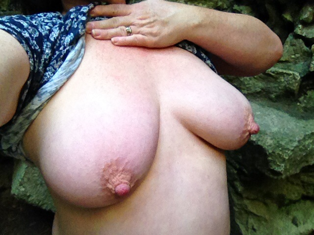 woman with large breasts flashing in the dungeon