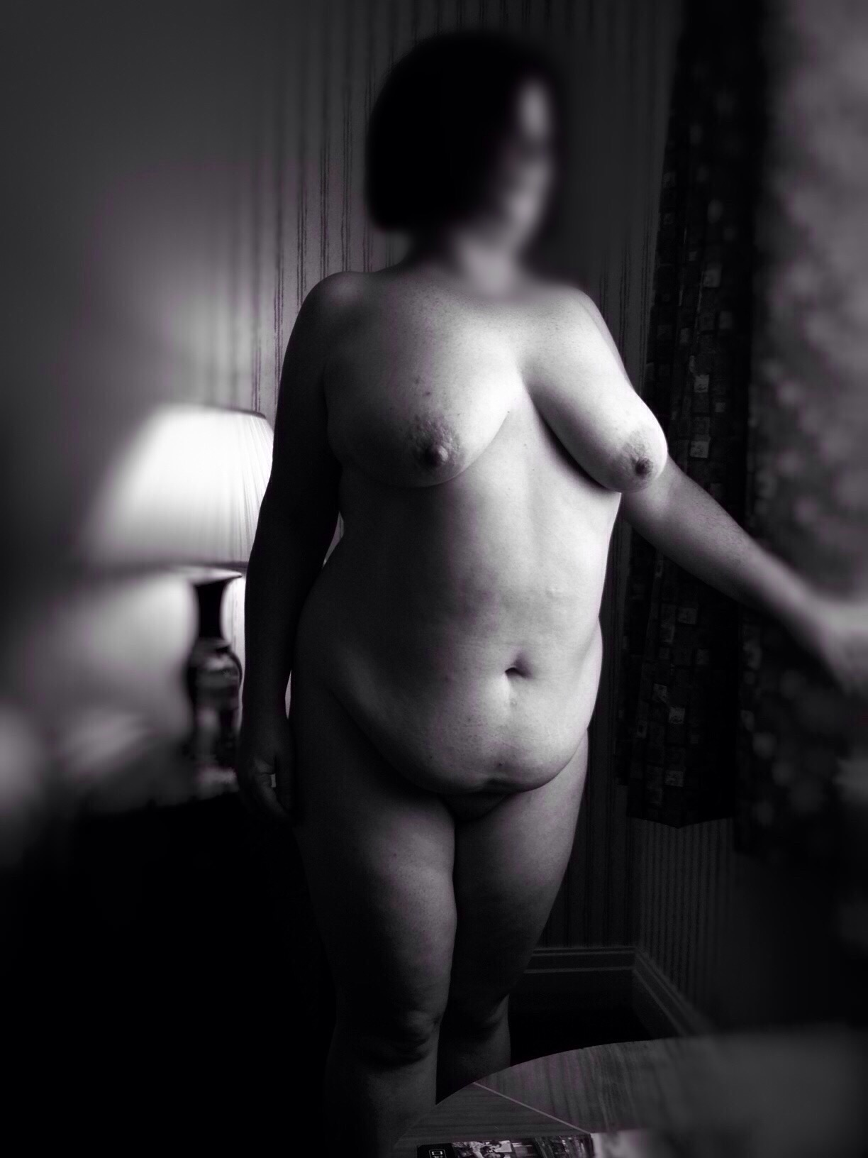 plump nude woman from a different perspective