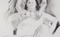 erotic life drawing - sexy couple as part of threesome