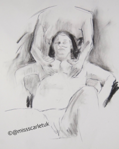 life drawing - sexy couple as part of threesome
