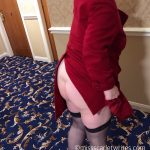 Woman with no knickers flashing in red coat